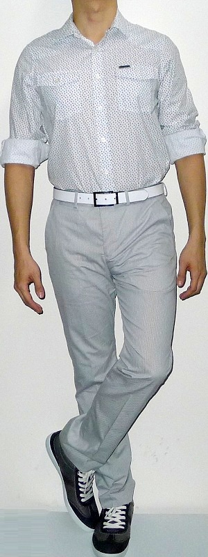 Men's White Floral Shirt Gray Pants Dark Green Shoes White Leather Belt