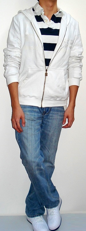 White Graphic Hooded Jacket White Dark Blue Wide Stripe Polo Light Blue Jeans White Shoes