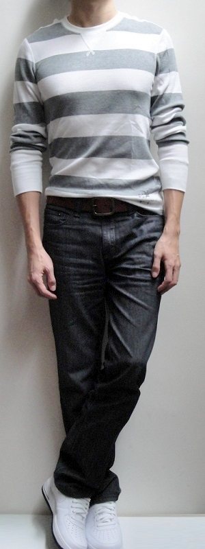 White Gray Striped Sweater Dark Brown Belt Black Jeans White ...