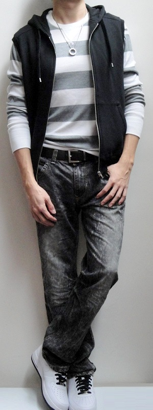 Men's White Gray Striped Thermal Black Vest Dark Brown Belt Black Snow Jeans White Tennis Shoes