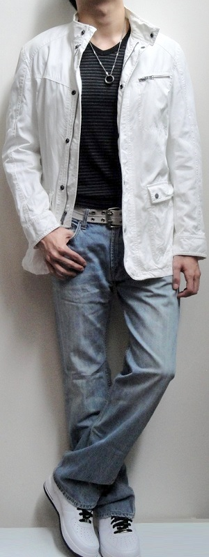 White Jacket Black Striped V-neck Tee Gray Belt Light Blue Jeans White Sports Shoes