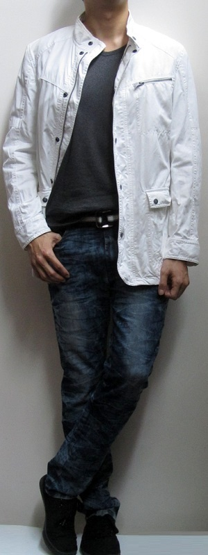 Men's White Jacket Black T-Shirt Blue Snow Jeans Black Canvas Shoes
