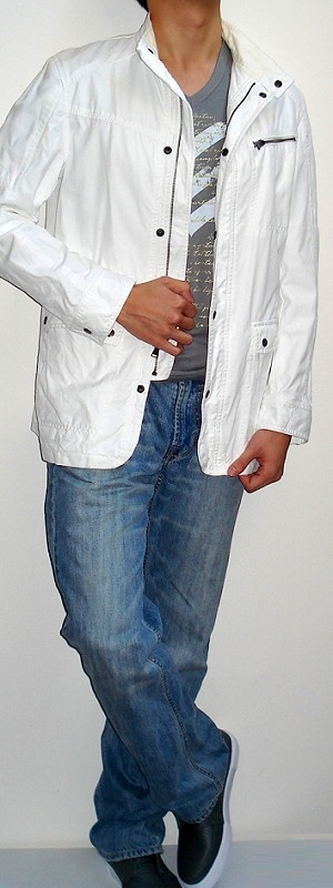 Men's White Jacket Gray Graphic Tee Light Blue Jeans Gray Shoes