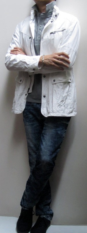 Men's White Jacket Gray Polo Shirt Blue Snow Jeans Black Sneakers