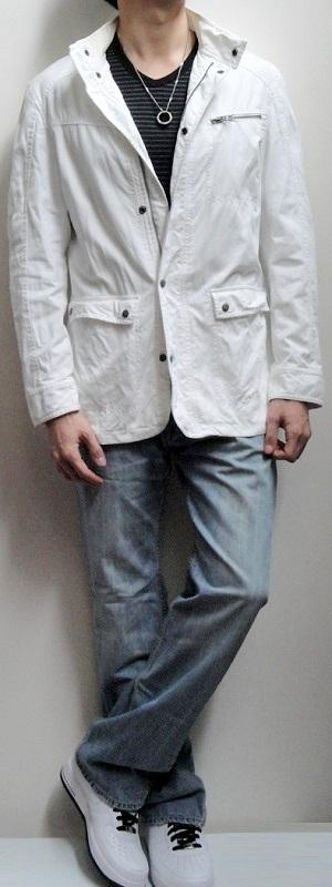 Men's White Jacket Black Striped V-neck Tee Gray Belt Light Blue Jeans White Sports Shoes