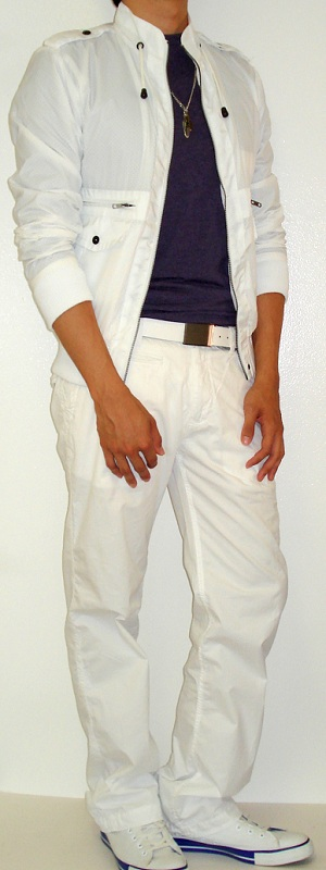 Men's White Jacket White Belt White Pants White Shoes Purple T-Shirt