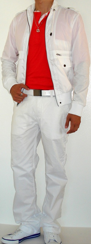 Men's White Jacket White Leather Belt White Pants White Canvas Shoes Orange T-Shirt