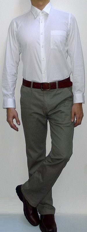 White Long Sleeve Dress Shirt Brown Leather Belt Khaki Pants Brown Leather Shoes