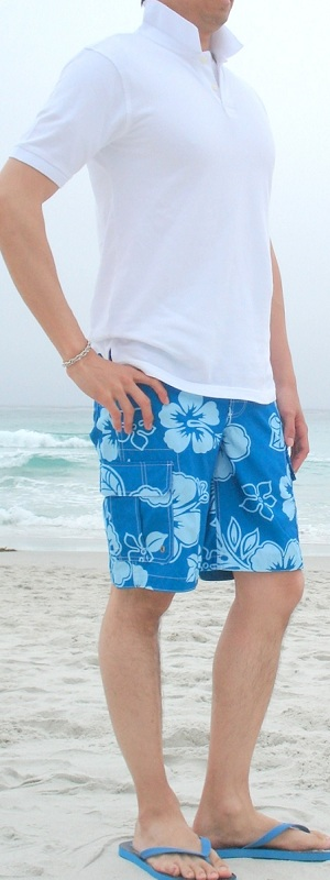 Men's White Polo Blue Floral Swim Trunks Blue Flip Flops