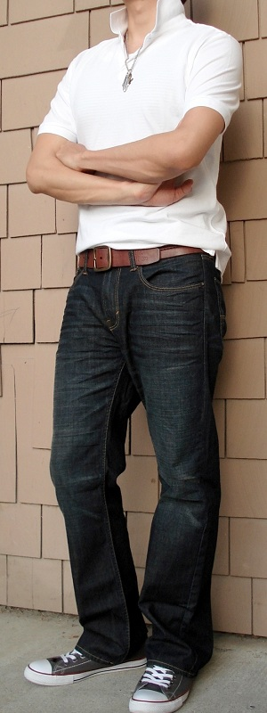 Men's White Polo Dark Blue Jeans Gray Shoes