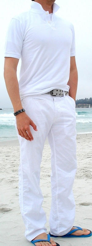 Men's White Polo White Pants Gray Cotton Belt Blue Flip Flops