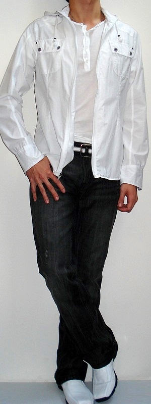 Men's White Shirt Jacket White T-shirt Black White Belt Black Jeans White Dress Shoes
