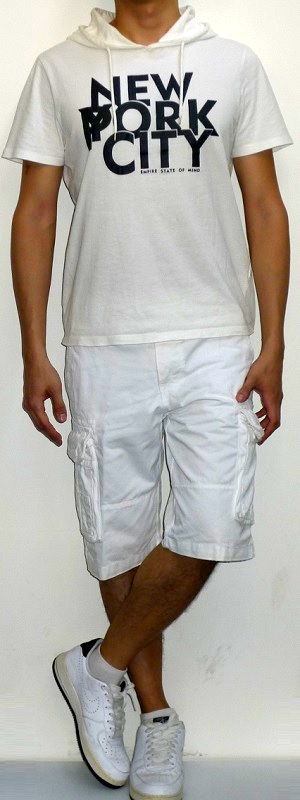 Men's White Short Sleeve Hooded Graphic Tee White Cargo Shorts White Running Shoes