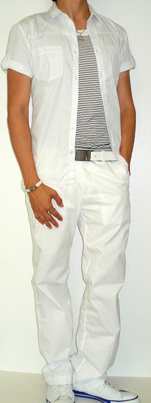 Men's White Short Sleeve Shirt White Leather Belt White Canvas Sneakers Black Striped Tank Vest