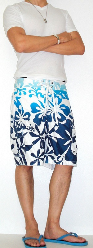 Men's White T-Shirt White Floral Swim Trunks Blue Sandals