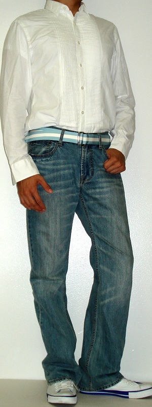 Men's White Tuxedo Shirt Blue Ribbon Belt Light Blue Jeans White Shoes