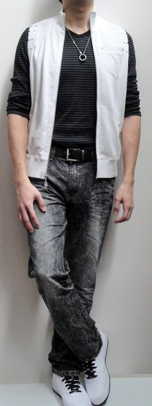 White Vest Black Striped V-neck Long Sleeve Tee Dark Brown Belt Black Snow Jeans White Sports Shoes