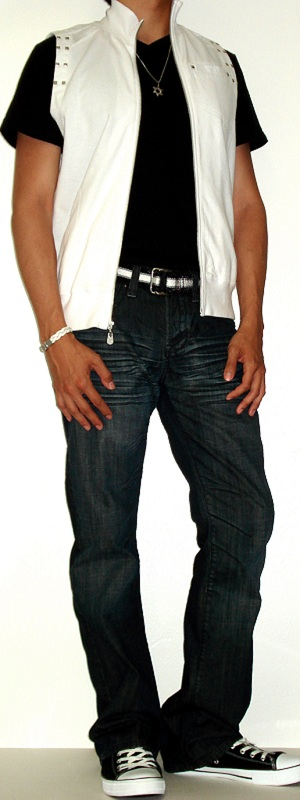 Men's White Vest Black T-Shirt Black Webbing Belt Black Shoes