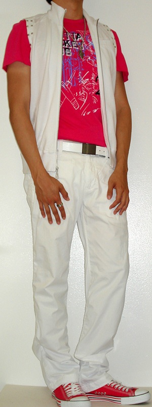 Men's White Vest White Belt White Pants Pink Graphic Tee Pink Shoes