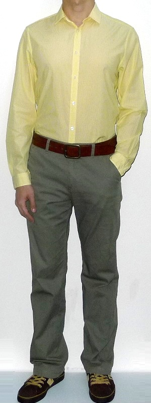 Yellow Long Sleeve Shirt Brown Leather Belt Khaki Pants Brown Sneakers