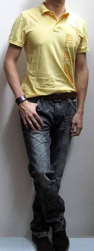 Yellow Polo Shirt Brown Leather Belt Black Snow Jeans Brown Ankle Boots